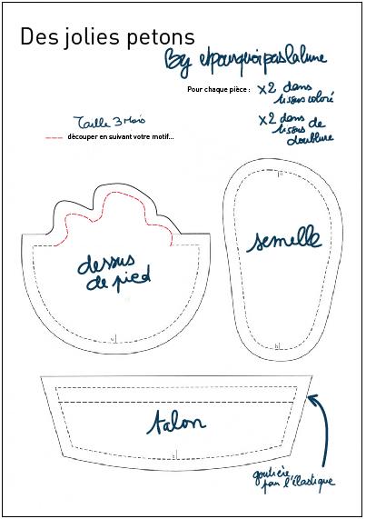 patron couture gratuit chausson bébé