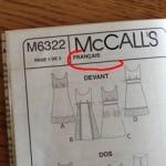 patron couture en anglais